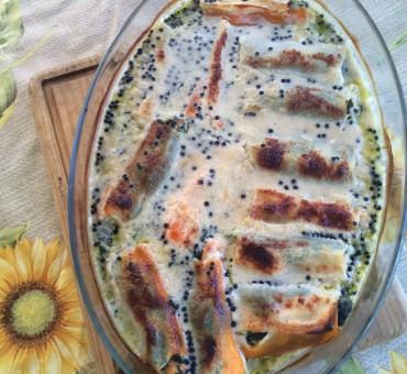 Canelones light de salmón y espinacas